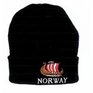 Navy Knitted Hat with Norwegian Flag