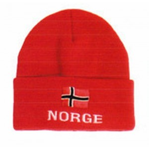 Red Knitted Hat with Flag